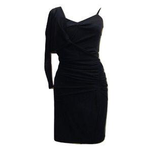 Zara New body con dress black one sleeve Sz XS